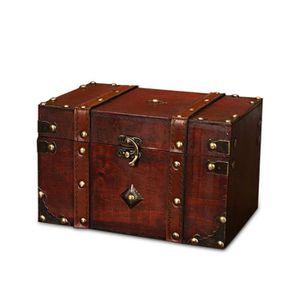 BOITE A BIJOUX LEEGOAL Boîte à bijoux rétro en bois carrée Rangem