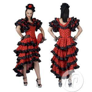 DÉGUISEMENT - PANOPLIE robe espagnole rouge à pois noirs taille l