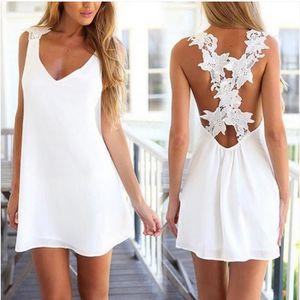 ROBE V-cou licol en mousseline de soie blanche robe de