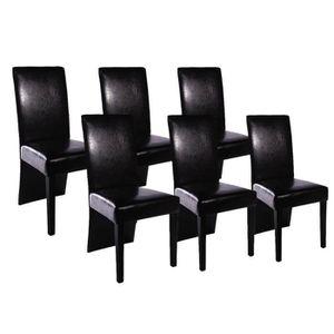 CHAISE 6 pcs Chaise de salle à manger Cuir artificiel Noi
