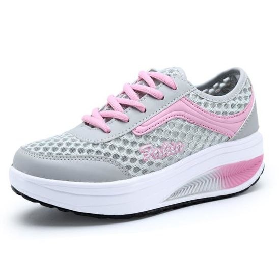 Plate-forme Mesh Slip-On Chaussures Femme Fitness travail Out Sneaker  Rose - Achat / Vente chaussure toning
