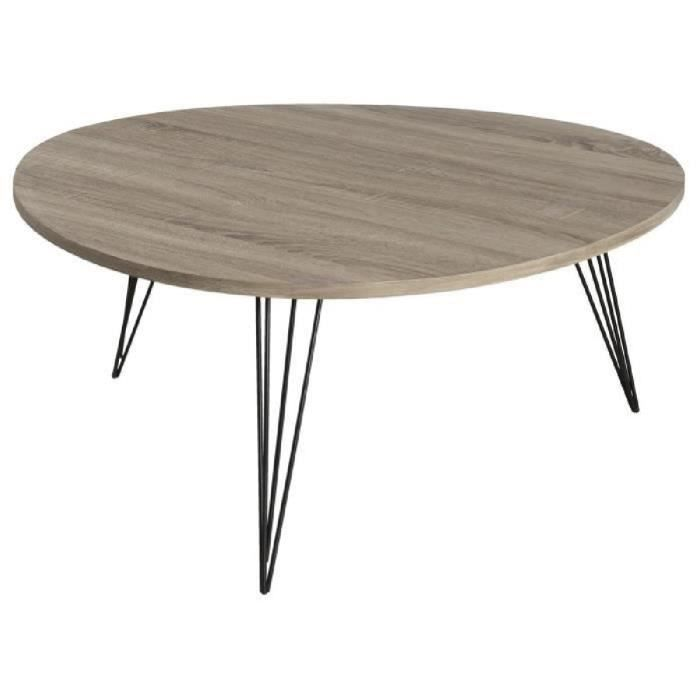 Melbourne table basse ronde scandinave en mdf placage for Table basse scandinave metal
