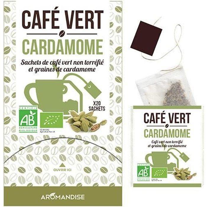 Sachets de café vert non torréfié et graines de cardamome