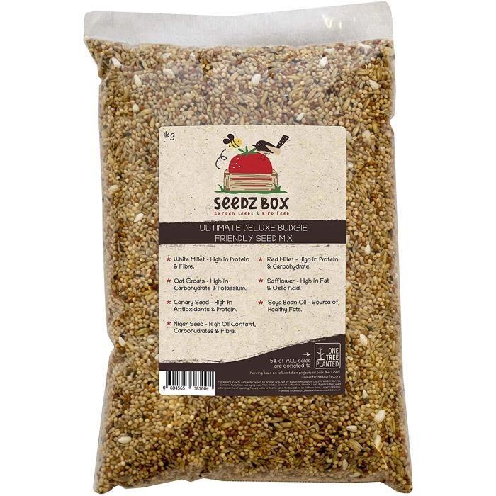 Nourriture pour oiseaux Mélange suprême de grains et de noix nourriture pour perruches ondulées, SeedzBox Budgerigar Bud 128014