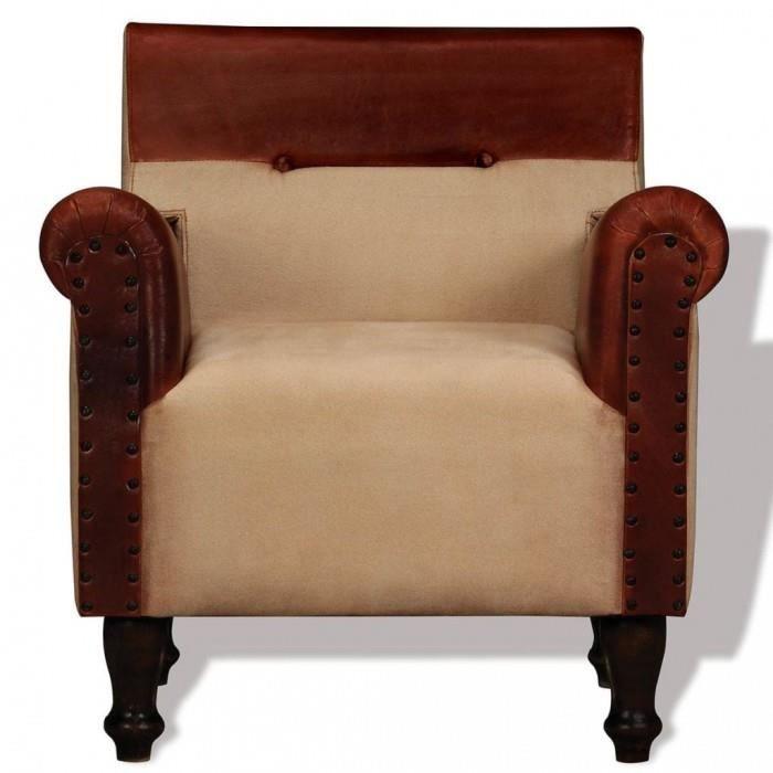 Fauteuils club, fauteuils inclinables et chauffeuses lits Fauteuil Cuir veritable et tissu Marron et beige