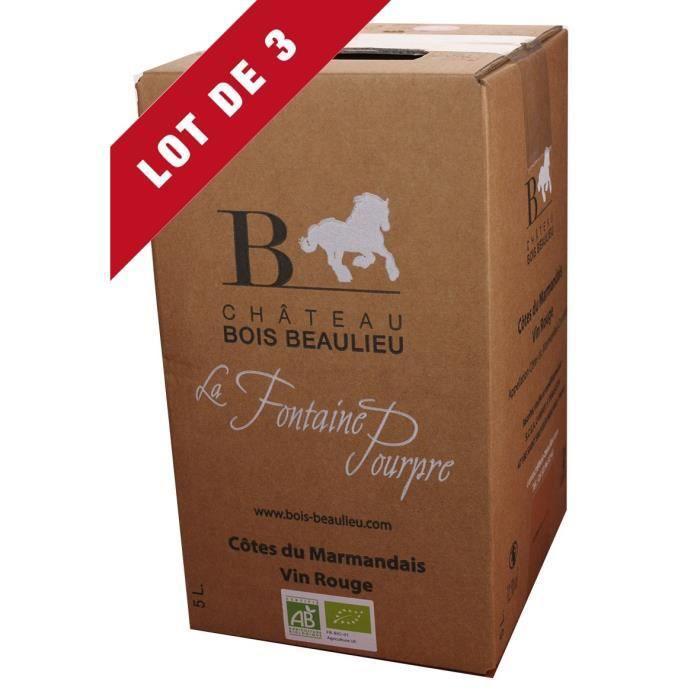 3X Bag-in-Box 5L Château Bois Beaulieu Rouge AOC Côtes du Marmandais - Vin Rouge