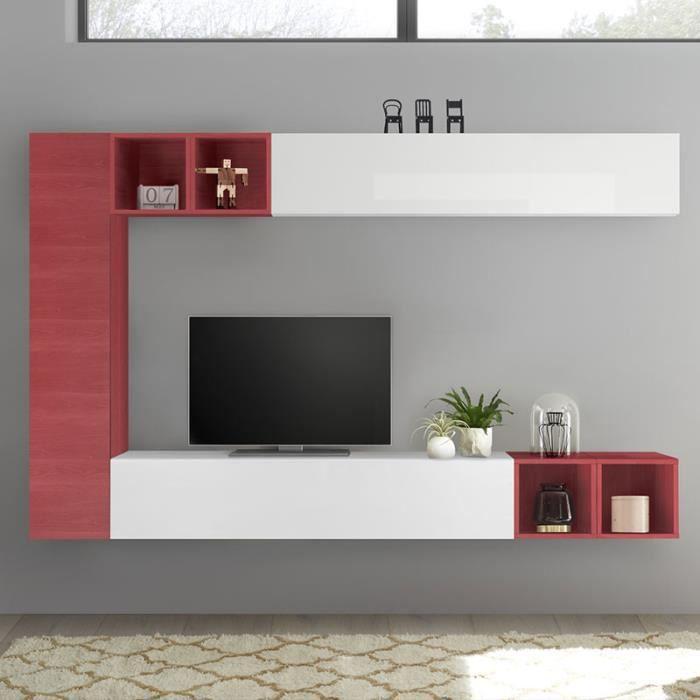 Meuble mural TV blanc laqué et rouge LIZZANO Rouge L220 x P 30 x H 180 cm