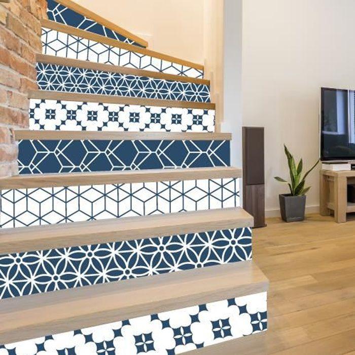 Adhesif contremarche lot de 4 - GUSTO BLEU - Adhesif pour escalier - Dimensions 1m x 17 cm