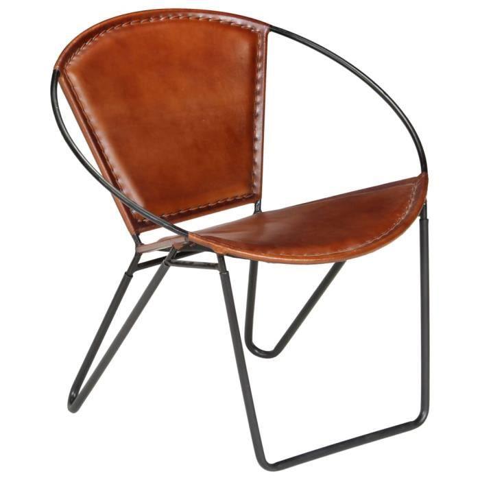 {NEW}1281Fauteuil Chaise Scandinave - Fauteuil Club Fauteuil de relaxation Design Confort & Chic - Fauteuil Salon Marron Cuir vérita