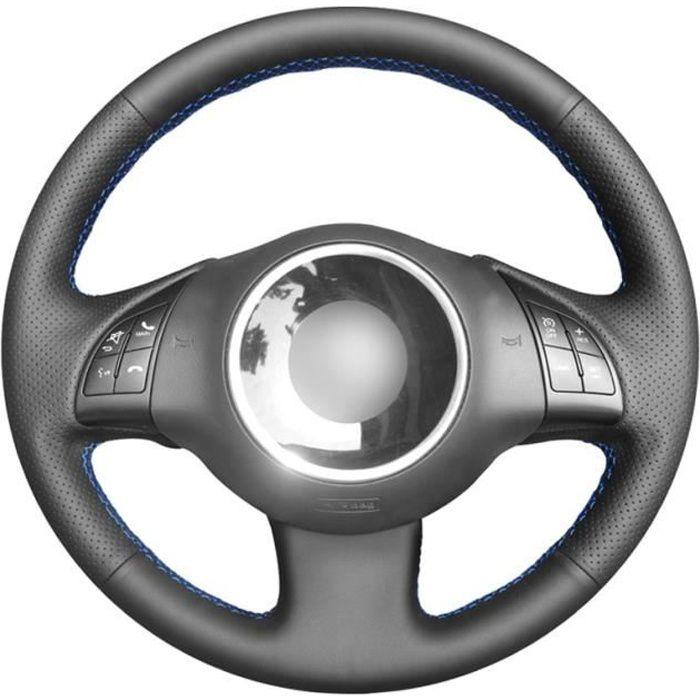Housse de volant de voiture en Faux cuir PU noire, cousue à la main, pour Fiat 500 2007 2015 500e 2014 Red Thread