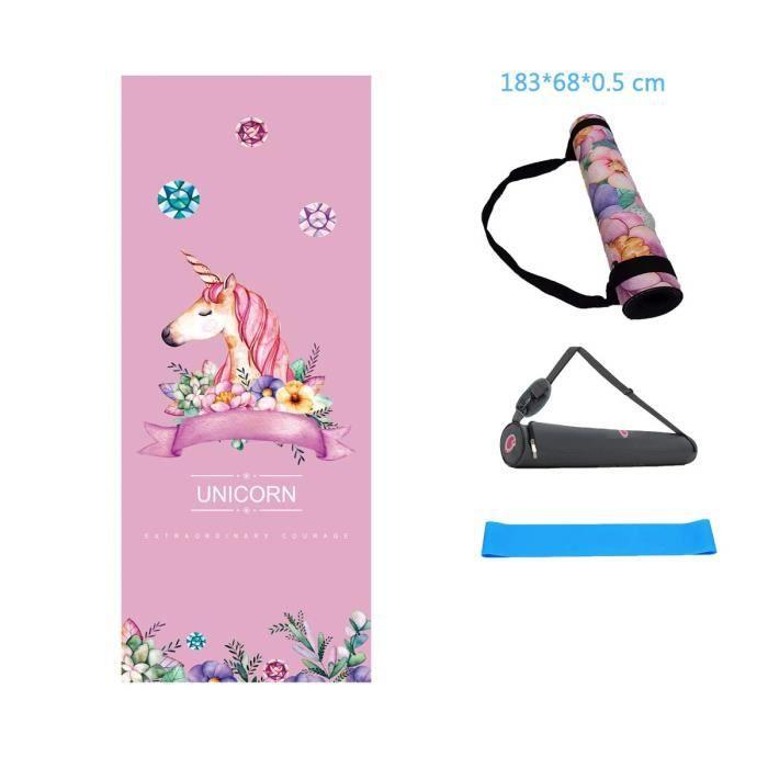 MINCHEDA Tapis de Yoga Mat 5mm, Antidérapant, Écologique, Lavable pour Gym,Yoga, Sport, Gymnastique, Fitness, Pilates, Musculatio