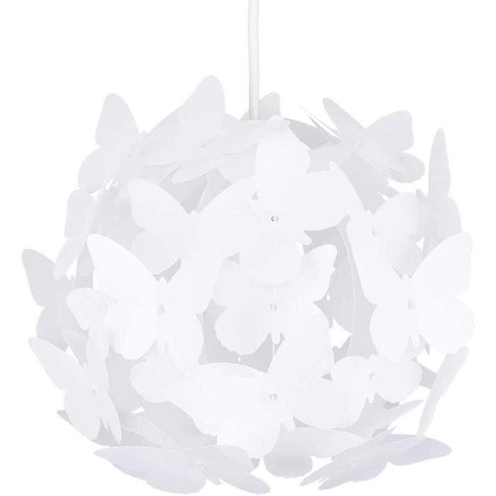 Belle Moderne et Lumineux Lustre Pendentif. Papillons blanches sur un Boule. Abat-jour pour Chambres des Enfants ou Décor contempora