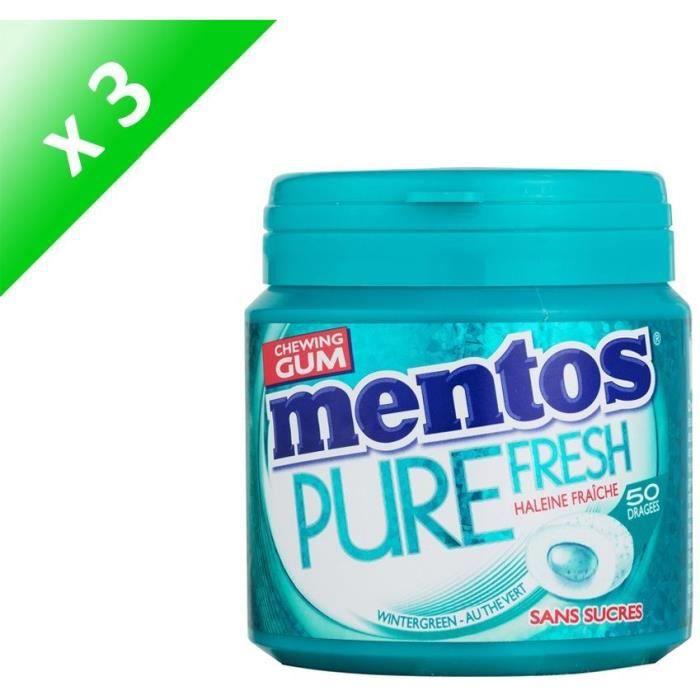 [LOT DE 3] MENTOS GUM PURE FRESH Bottle de 50 dragées sans sucres - Wintergreen