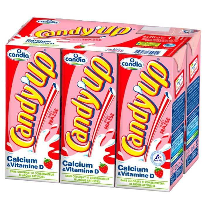 Lait aromatisé fraise 6 x 20 cl Candy'up