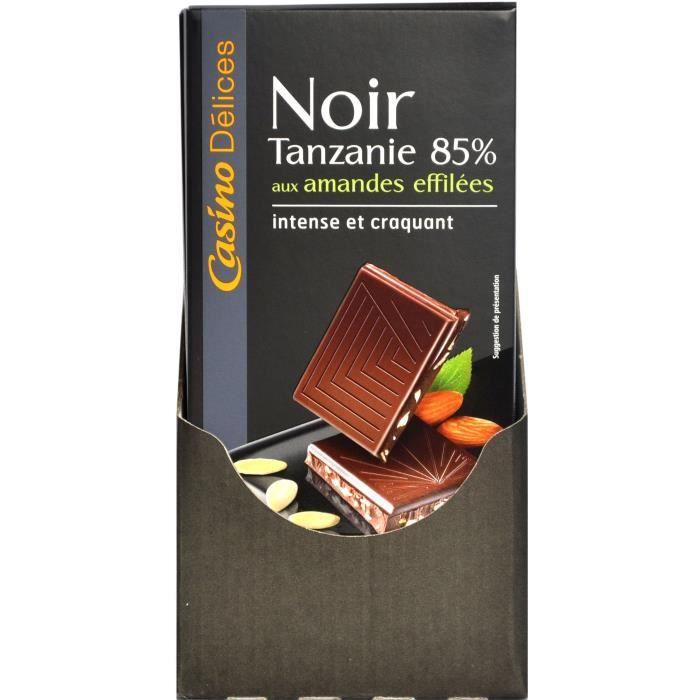 CASINO DELICES Chocolat Noir Extra-Fin aux Amandes effilées - 100g