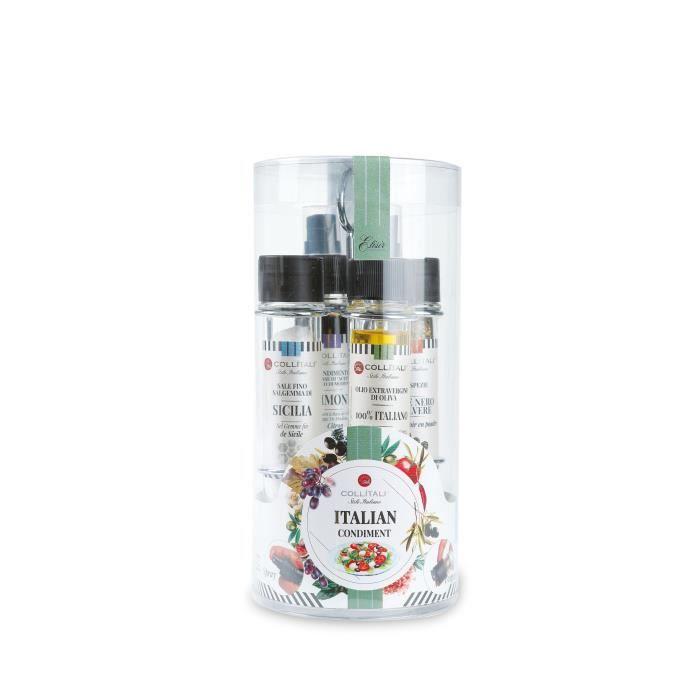 COLLITALI QUATTRO 4 tubes : 1 spray huile olive 30 ml, 1 spray vinaigre balsamique citron 30 ml, 1 salière 50 g et poivrière 17 g