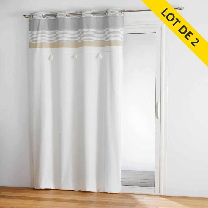 lot de 2 rideaux a oeillets 140 x 240 coton+top pompons iliade