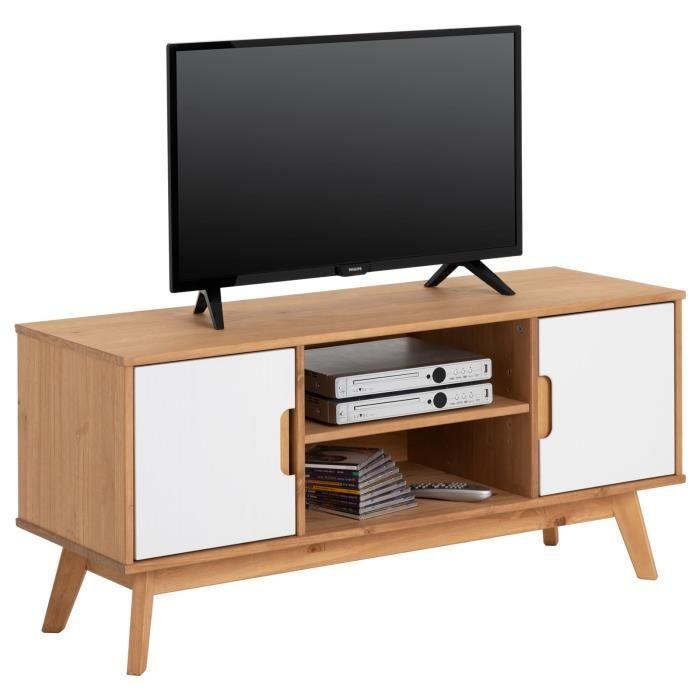 Meuble TV TIVOLI banc télé de 114 cm design vintage scandinave nordique 2 portes et 2 niches, pin massif finition bois teinté/blanc