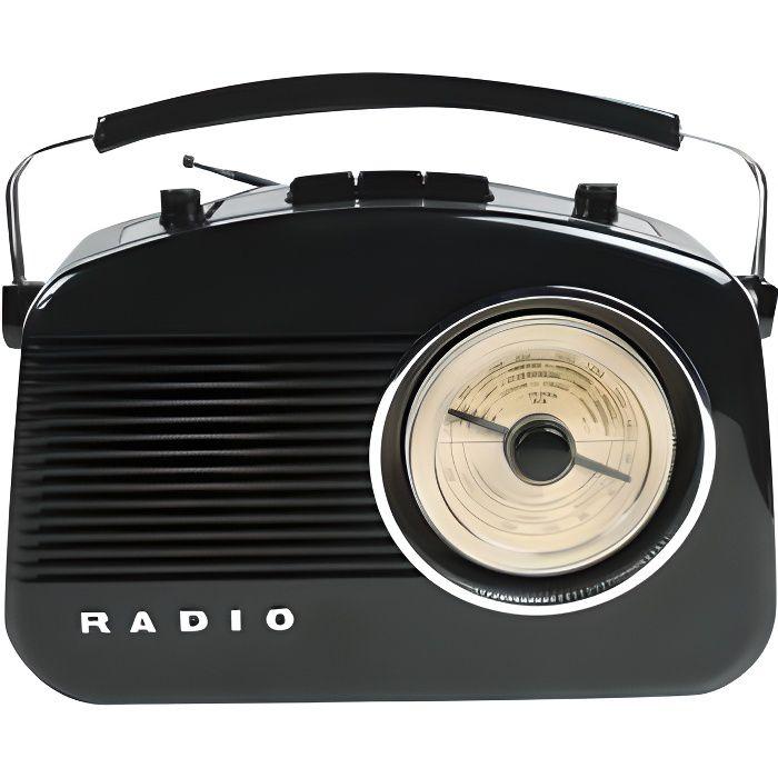Radio AM/FM design rétro noir