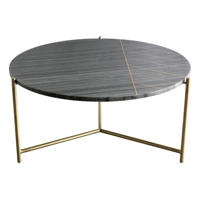 Miliboo - Table basse ronde en marbre noir SILLON