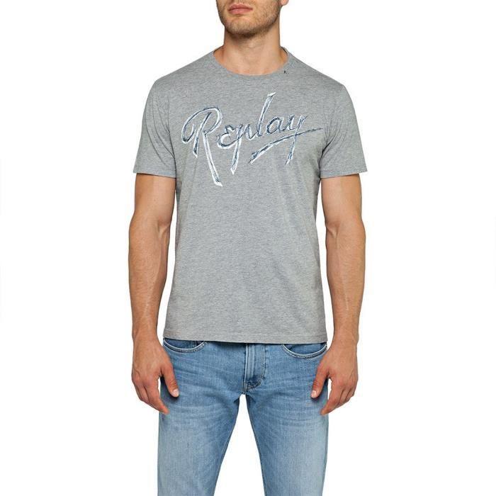 vêtements homme t-shirts replay basic jersey 30/1. t-shirt à col rond homme en pur coton, coupe normale, inscription replay sur la p