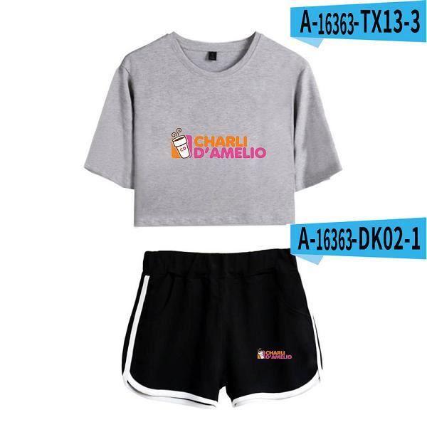 shorts summer,Nouvelle mode Charli D 'Amelio périphérique impression femme Midriff à manches courtes T + Shorts costume été à la Fi