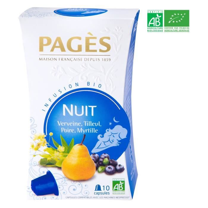 PAGES Infusion Nuit - Verveine, Tilleul, Poire, Myrtille - Capsules - Bio