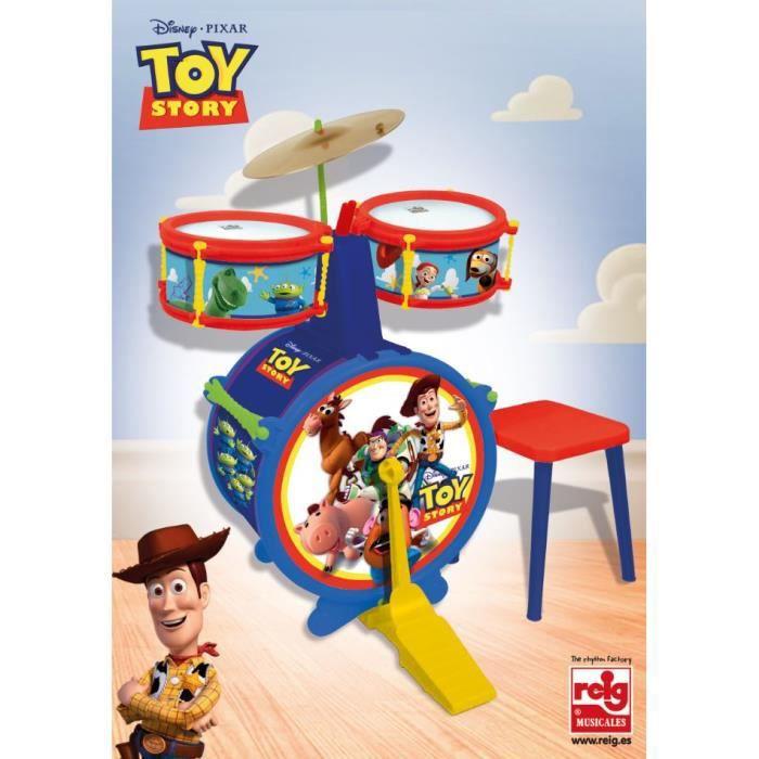DISNEY TOY STORY Batterie - Composée de : Grosse caisse, deux tambours, cymbale, pèdale, baguettes et tabouret