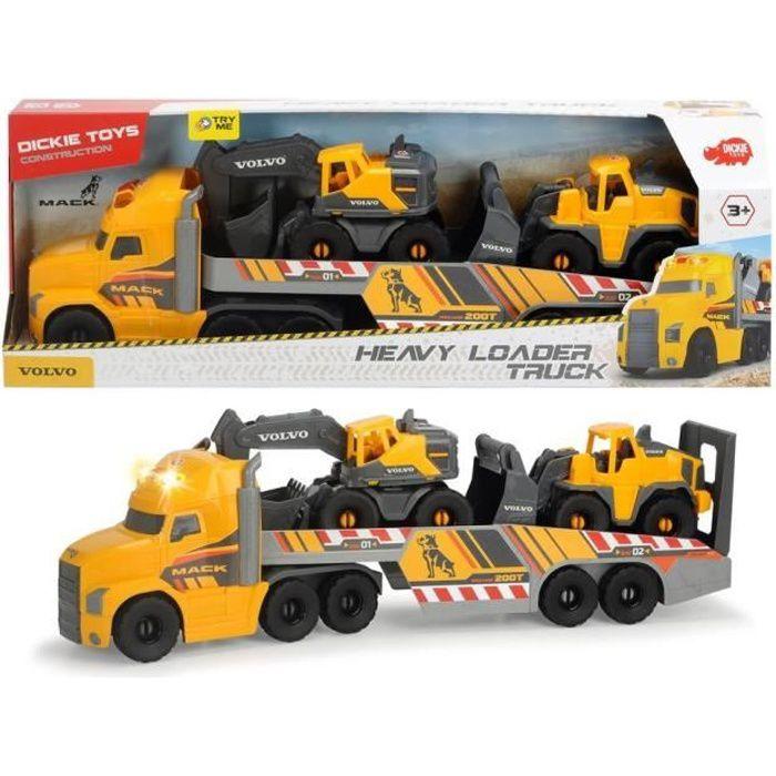 DICKIE - Camion volvo 70cm à roues libres + 2 véhicules de chantier.