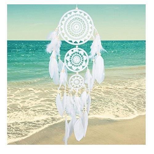 Soledi - Attrape-rêves Blanc Longueur : 65 cm Dream Capteur Indien artisanal Traditionnel Plume Blanc déco mural Suspendu Ornement