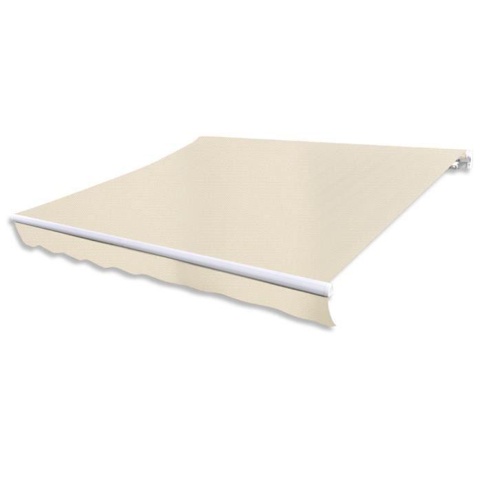 3 x 2,5m Store Banne en toile auvent Blanc crème sans cadre Résistant aux UV pour jardin/patio/terrasse