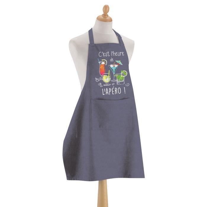 Tablier de cuisine L'apéro BLEU DENIM 90 X 72 Torchons & Bouchons
