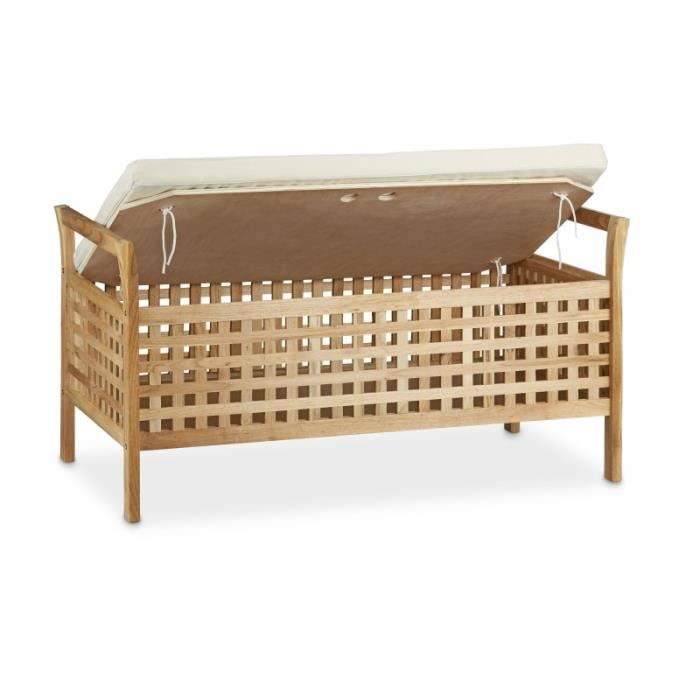 BANC Banc de rangement en bois de noyer banquette assis