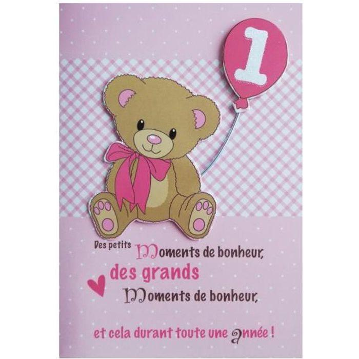 Carte De Voeux Enfant Anniversaire 1 An Fille Achat Vente Carte Correspondance Carte De Voeux Anniversaire Cdiscount