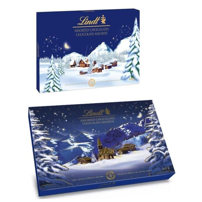 CONFISERIE DE CHOCOLAT Lot de 2 - 1 LINDT Boîte de Paysage de Noël 469 g