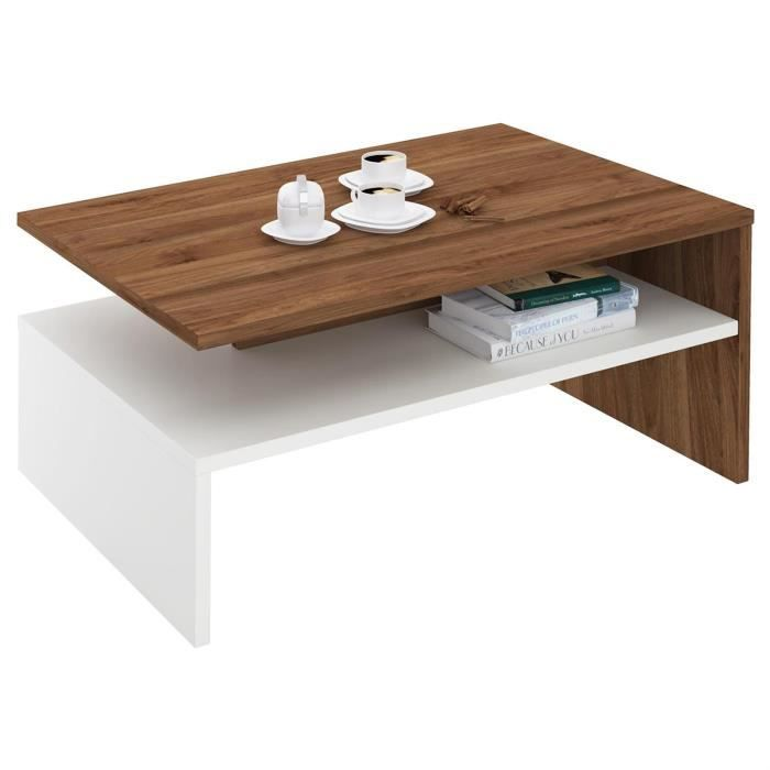 table basse de salon mdf m lamin noyer et blanc achat vente table basse dimensions l x h x. Black Bedroom Furniture Sets. Home Design Ideas