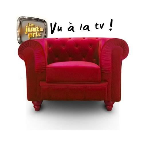 Fauteuil chesterfield velours rouge luxe achat vente fauteuil velours c - Fauteuil chesterfield rouge ...