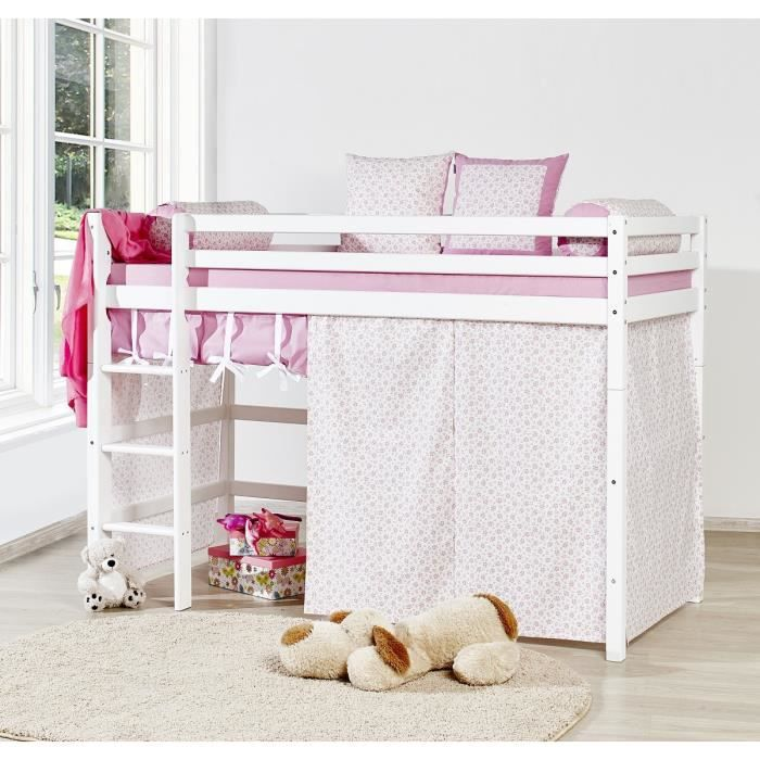 loop princesse lit mezzanine enfant 90x200cm rideau bois massif blanc achat vente. Black Bedroom Furniture Sets. Home Design Ideas