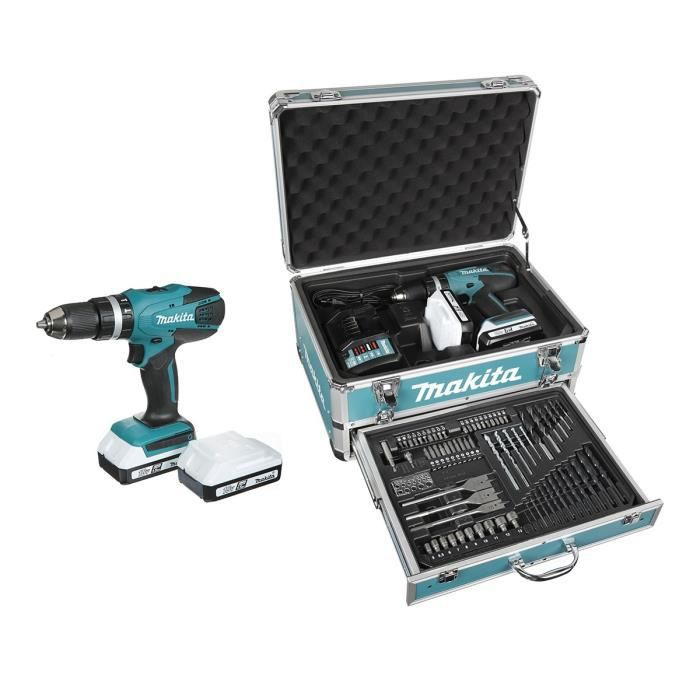 makita perceuse visseuse percussion hp457dwex4 avec 2 batteries 18v 1 3ah li ion mallette en. Black Bedroom Furniture Sets. Home Design Ideas