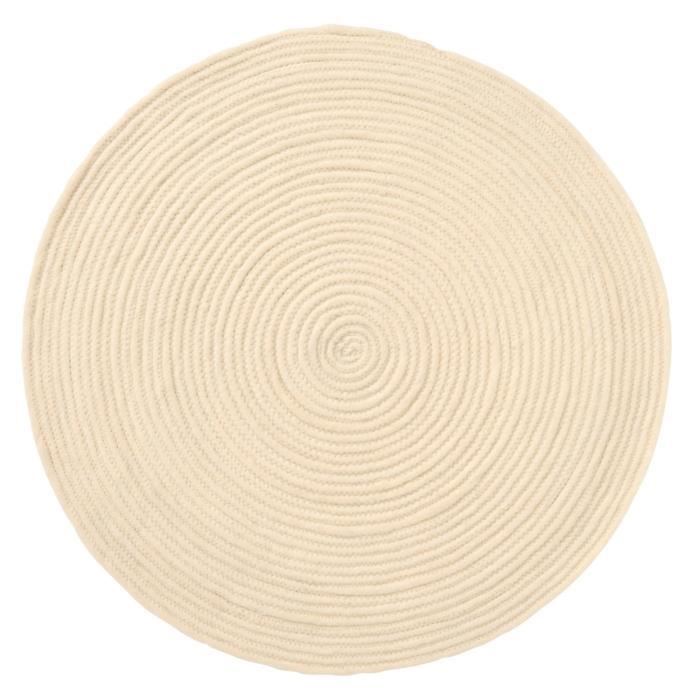tapis rond 100 laine beige achat vente tapis de bain 100 laine cdiscount. Black Bedroom Furniture Sets. Home Design Ideas