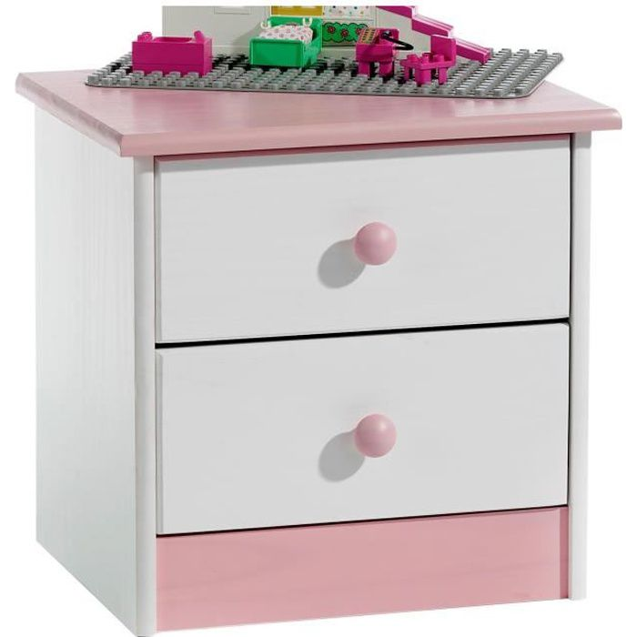 Table de chevet en pin rondo lasur blanc rose achat for Table de chevet bebe