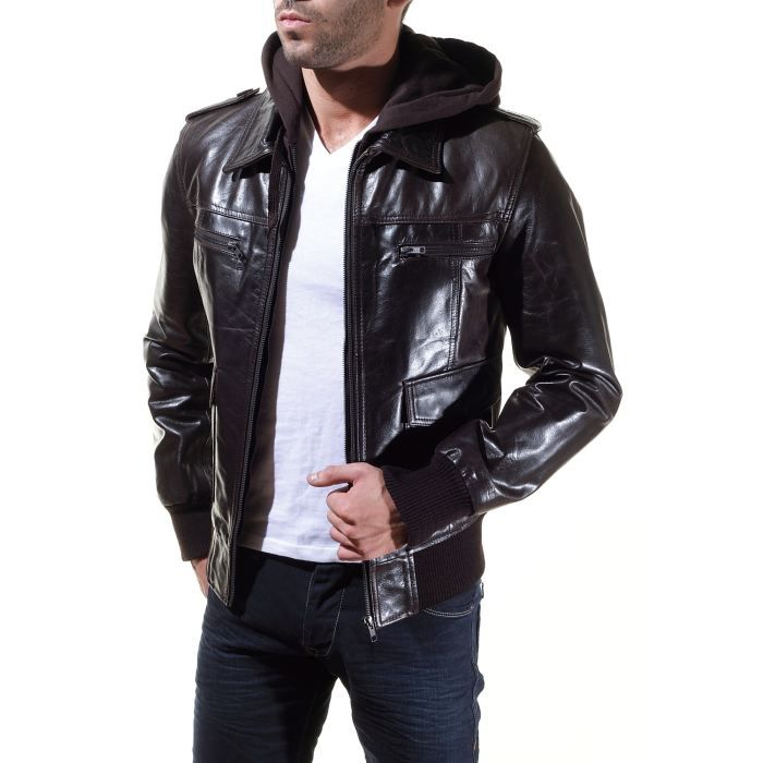 blouson en cuir serge pariente g brun achat vente blouson gb bomber marron cdiscount. Black Bedroom Furniture Sets. Home Design Ideas