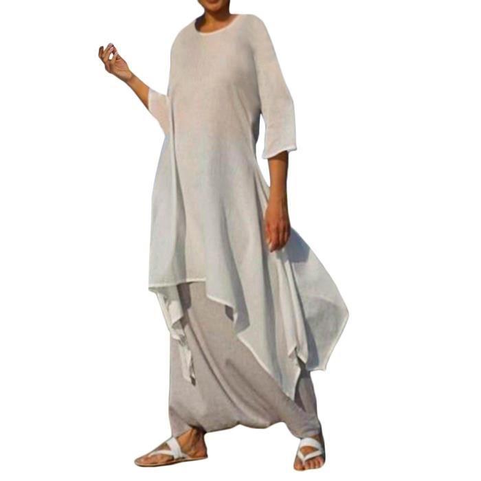 Minetom Femme Robe Lin Ete Elegant Midi Robes Grande Taille Couleur Uni Tunique Lache Irreguliere Manches 3 4 Vintage Robe Blanc Achat Vente Robe Cdiscount