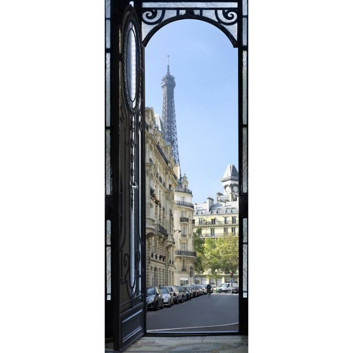 Rue de paris sticker de porte 204x83cm achat vente for Porte 204x83