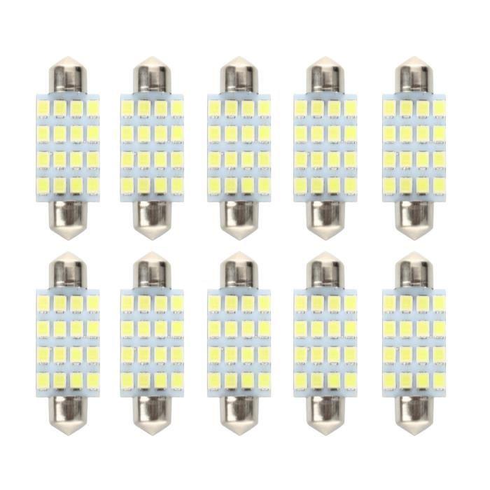 R SODIAL 2 42mm 8 3528 SMD LED Blanc Voiture Dome Feston Ampoules Interieures