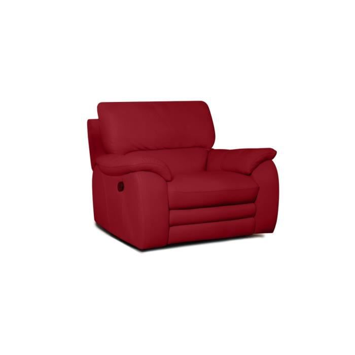 fauteuil relaxation en cuir rouge 1 place peters achat. Black Bedroom Furniture Sets. Home Design Ideas