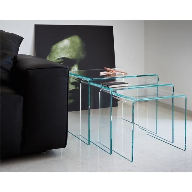 lot de 3 tables gigognes bridge transparente achat. Black Bedroom Furniture Sets. Home Design Ideas