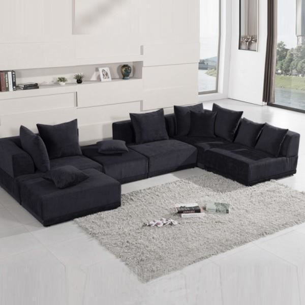 canap panoramique et modulable oceane noir achat vente canap sofa divan polyester. Black Bedroom Furniture Sets. Home Design Ideas