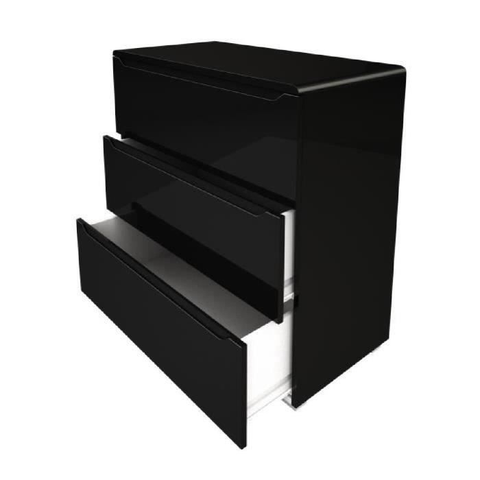 urbano commode de chambre contemporain laqu noir brillant l 80 cm achat vente commode de. Black Bedroom Furniture Sets. Home Design Ideas