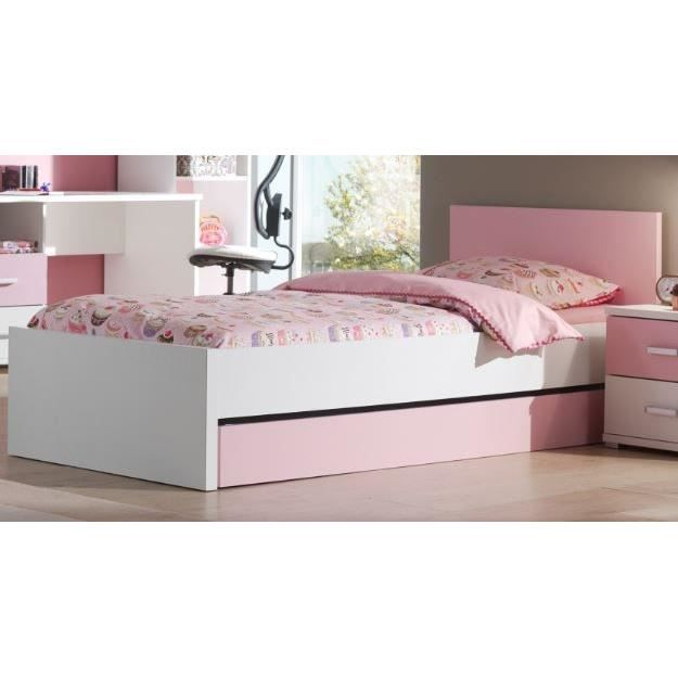 valentine lit enfant 90 x 200 cm blanc rose achat. Black Bedroom Furniture Sets. Home Design Ideas